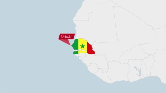 Senegal map highlighted in Senegal flag colors and pin of country capital Dakar. Senegal map highlighted in Senegal flag colors and pin of country capital Dakar, map with neighboring African countries. senegal stock videos & royalty-free footage