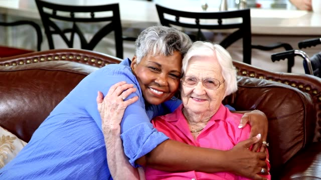 Senior adult women friends in assisted living community. video