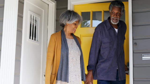 Senior African American Family At The House Front Door video