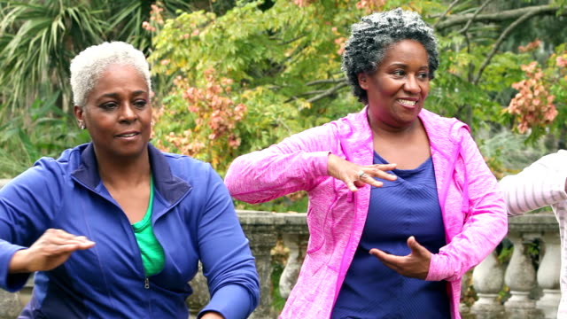 Senior african American women doing tai chi in a park video