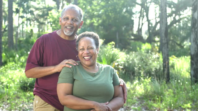 senior african-american couple at park - 60 69 anni video stock e b–roll