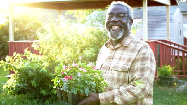 vídeos y material grabado en eventos de stock de senior african-american man gardening - encuadre cintura para arriba