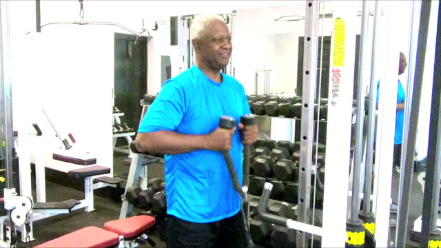 Senior African-American man working out at the gym video