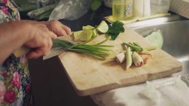 vídeos de stock e filmes b-roll de senior asian woman cooking at home - comida asiática