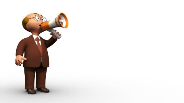 3 d старший бизнес человек характер, делая объявление - характеры стоковые видео и кадры b-roll