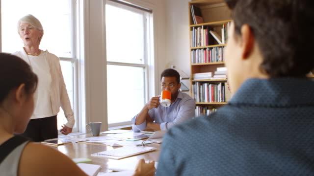 Senior Businesswoman Addressing Team Meeting Shot On R3D video