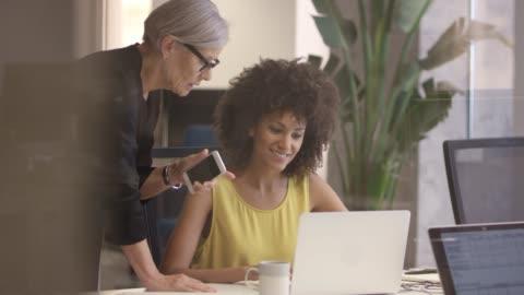 imprenditrice senior che discute con il collega - due persone video stock e b–roll