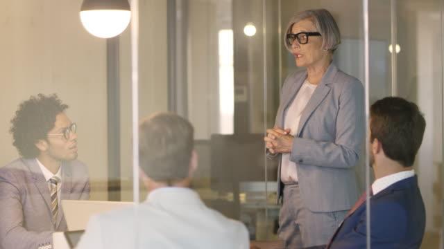 Senior businesswoman explaining to professionals