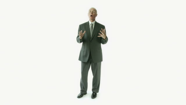 Senior caucasian businessman isolated on white ceo talking anger video
