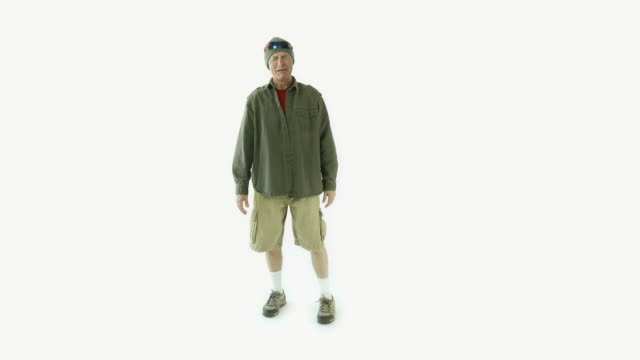 Senior caucasian outdoor man isolated on white laughing funny video