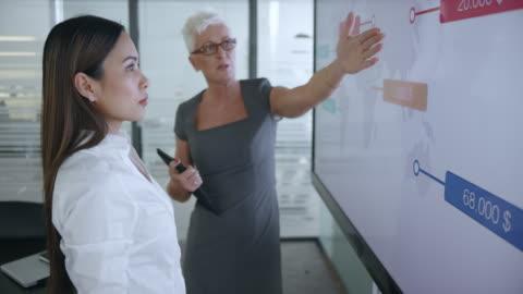üst düzey beyaz bir kadın ve onun genç kadın asya meslektaşım toplantı salonunun içinde büyük ekranda gösterilen diyagramları tartışıyor - dişiler stok videoları ve detay görüntü çekimi