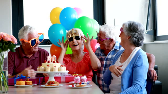 Senior citizens celebrating birthday party video