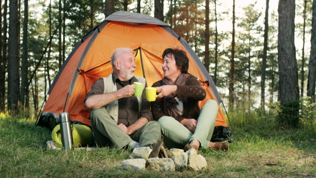 Senior couple camping video