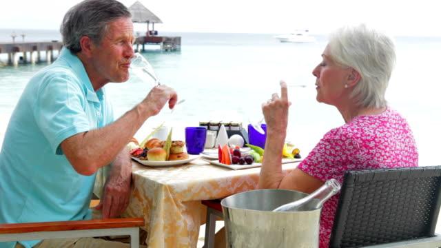 Senior Couple Enjoying Meal In Seafront Restaurant video