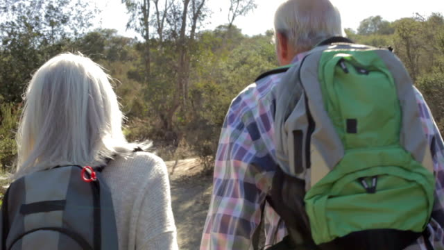 Senior Couple Hiking Along Country Path Together video