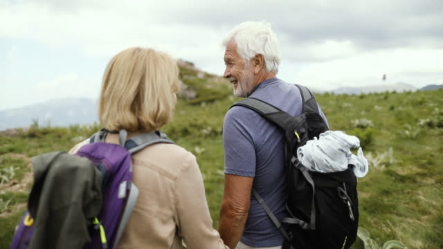 senior couple hiking - coppia anziana video stock e b–roll