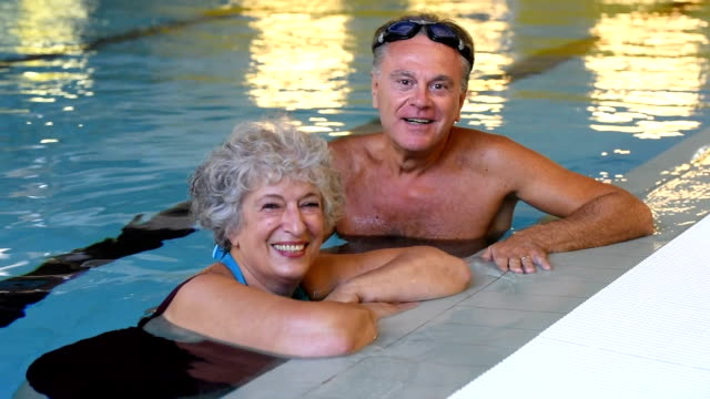 Senior couple in pool video