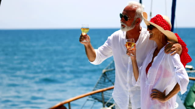 senior couple on a sailing cruise. - retirement stock videos & royalty-free footage