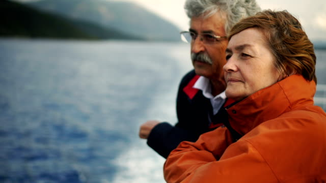 senior couple on ferry - coppia anziana video stock e b–roll