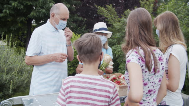 vídeos de stock, filmes e b-roll de casal sênior vendendo mantimentos durante a pandemia covid-19 - atividade