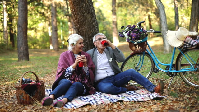 Senior couple sitting in the forest while relaxing and drinking a cup of coffee Senior couple sitting in the forest while relaxing and drinking a cup of coffee recreational pursuit stock videos & royalty-free footage