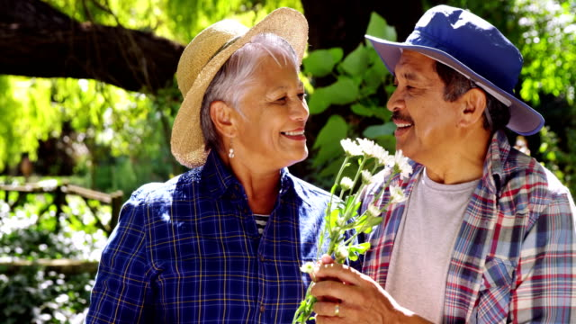 senior couple smelling flowers - cappello video stock e b–roll