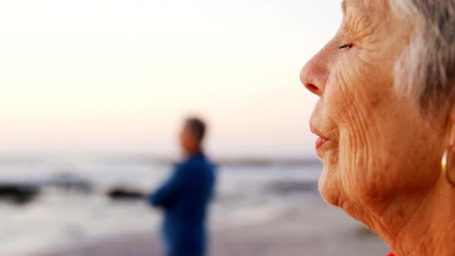 Senior couple standing in the beach 4k