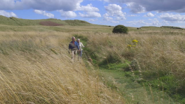 Senior Couple Taking Dog For Walk In Countryside video