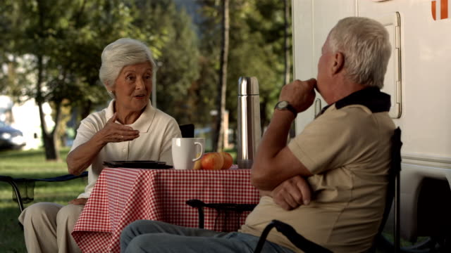 HD: Senior Couple Talking At The Campsite video