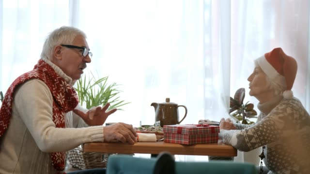 Senior Couple Talking in Restaurant at Christmas Dinner video