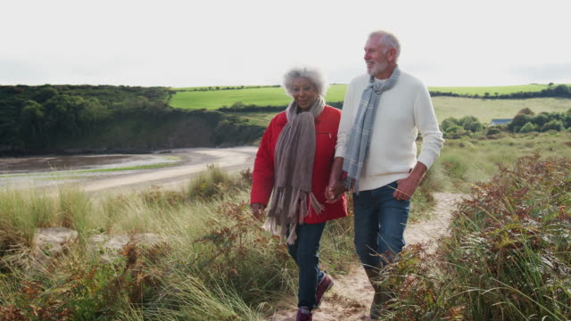 Senior couple walking along coastal path holding hands  in autumn - shot in slow motion Active Senior Couple Holding Hands As They Walk Along Coastal Path In Fall Together season stock videos & royalty-free footage
