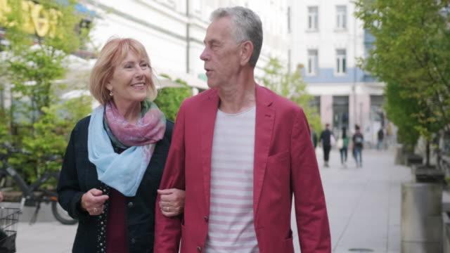 Senior Couple Walking and Talking in Ljubljana video