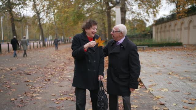 a senior couple walking in the park together - true love angielski zwrot filmów i materiałów b-roll