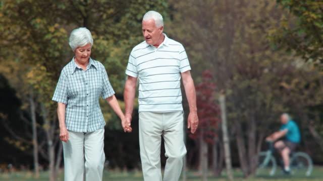 ds senior par promenader i parken - senior walking bildbanksvideor och videomaterial från bakom kulisserna