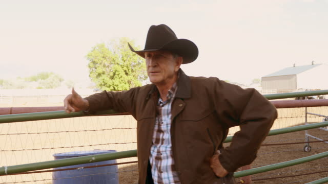 Senior Cowboy Talking on a Horse Ranch Senior cowboy on a horse ranch rancher stock videos & royalty-free footage