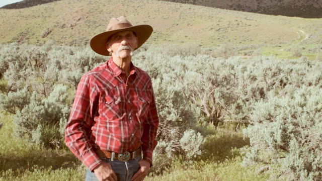Senior Cowboy A senior aged cowboy in the desert wilderness of Utah, USA. wisdom stock videos & royalty-free footage