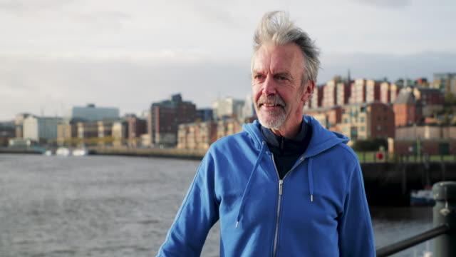 Senior Cyclist Windy Portrait video
