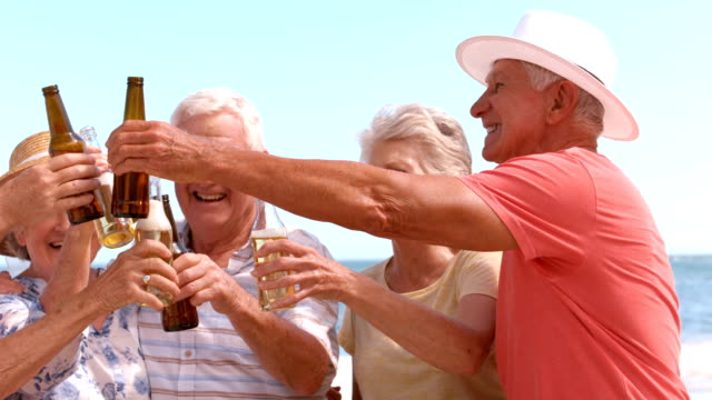 Senior friends drinking beer at the beach video