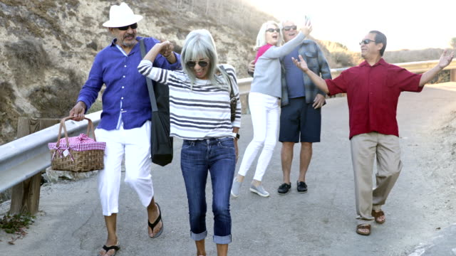 senior friends going to the beach - giovane nell'animo video stock e b–roll