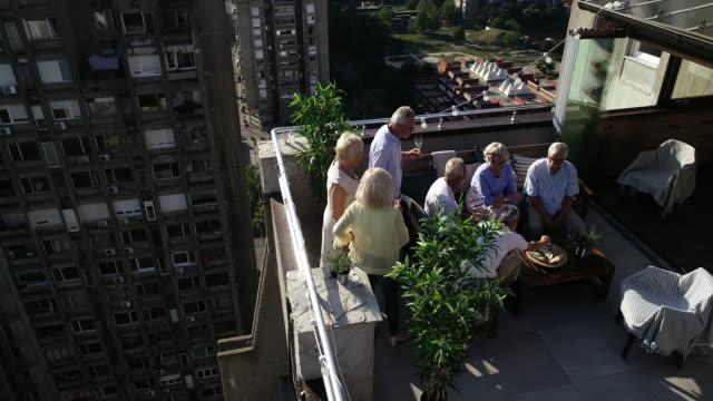 senioren freunde auf rooftop party - dachgarten videos stock-videos und b-roll-filmmaterial
