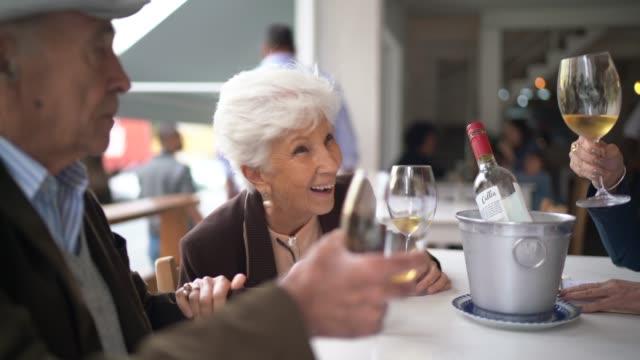 レストランでワインを乾杯するシニアフレンド - disruptagingcollection点の映像素材/bロール