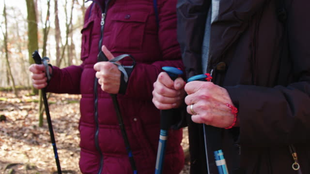 Senior hiker couple in woodland Midsection of senior couple hiking in forest. Elderly man and woman are wearing jackets. They are walking with hiking poles in winter. stick plant part stock videos & royalty-free footage
