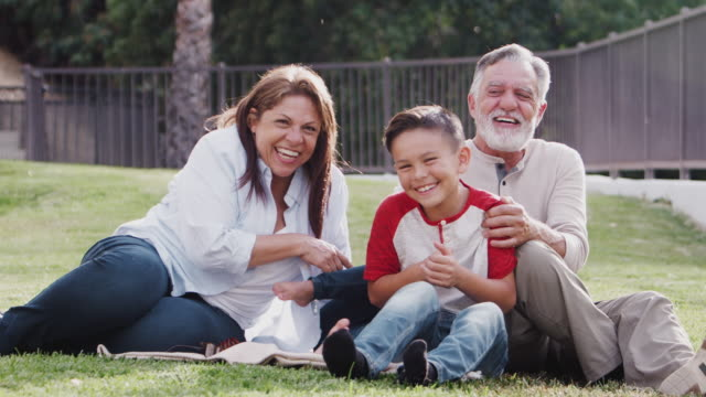 Senior Hispanic couple sitting on grass tickling their grandchildren and smiling to camera