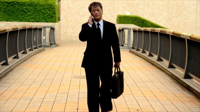 シニア日本のビジネスマン電話中 ビデオ
