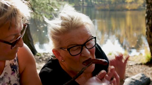 vídeos de stock, filmes e b-roll de seniores senhoras churrasco ao ar livre - cachorro quente