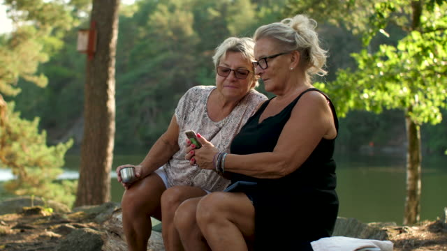 vídeos de stock e filmes b-roll de senior ladies using a smartphone in a forest - países nórdicos