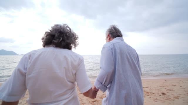 老人と彼の妻は幸せな感情と一緒にビーチに走っています。ライフスタイル、感情、退職の概念を持つ人々。スローモーションショット。 ビデオ