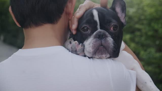 senior man bär vackra franska bulldog på axeln. asiatiskman. - bära bildbanksvideor och videomaterial från bakom kulisserna