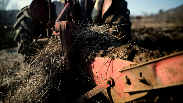 senior man driving small tractor and plowing field.agricultural activity - trattore video stock e b–roll