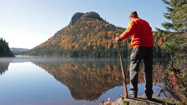 Senior Man Hunter Relaxing in Nature video